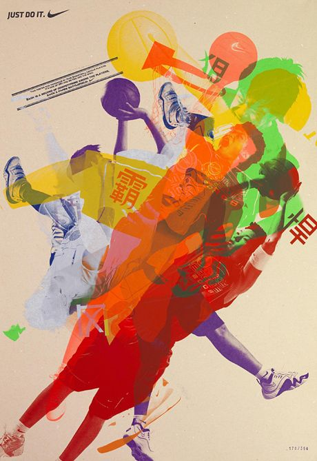 Call for entry posters for Nike Basketball League Competition in Hong Kong. The players actually made these by printing their images over other players', creating unique posters that also reflect the spirit of competition (in print as well as on the court). By McCann Hong Kong.