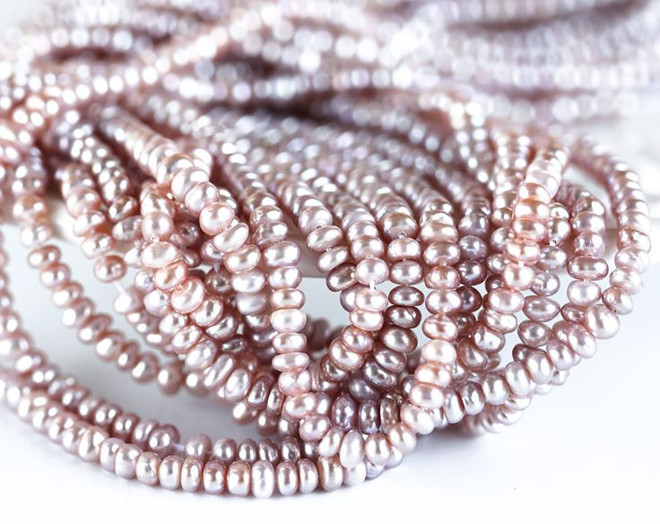 2567_Ash rose pearls 4x2.5 mm, Pink semi round pearls, Natural small pearls, Pale pink pearls, Button pearl beads, Freshwater cultured pearl by PurrrMurrr on Etsy