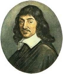 """Rene Descartes (1596-1650) Descartes maakte deel uit de bourgeoisie. Hij was wiskundige en verdiepte zich in filosoferen. Volgens hem was iedereens waarneming anders, je kon slecht onderscheid tussen werkelijkheid en illusie zien. Descartes maakte daarvan een conclusie: je kunt beter twijfelen. Een ding wist hij zeker, hij twijfelde, dus moest hij bestaan. Hij was geen illusie. """"Cogito ergo sum."""" Ik denk dus ik ben. Vanuit dit punt ging hij zoeken naar bewijzen"""