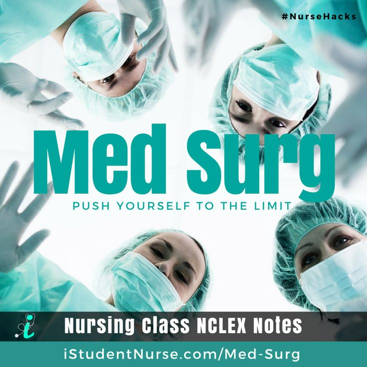 Medical-Surgical Nursing NCLEX Study Notes: Covers the major topics that nursing students master in Med-Surg Class. Articles address pathophysiology, etiology, epidemiology, clinical manifestations, diagnostics, treatment (surgery, pharmacology, lifestyle alterations), & care planning (assessment, patient teaching, nursing diagnoses, planning, interventions, outcomes, & evaluations) @iStudentNurse #NurseHacks #MedSurg #NCLEX #Nursing