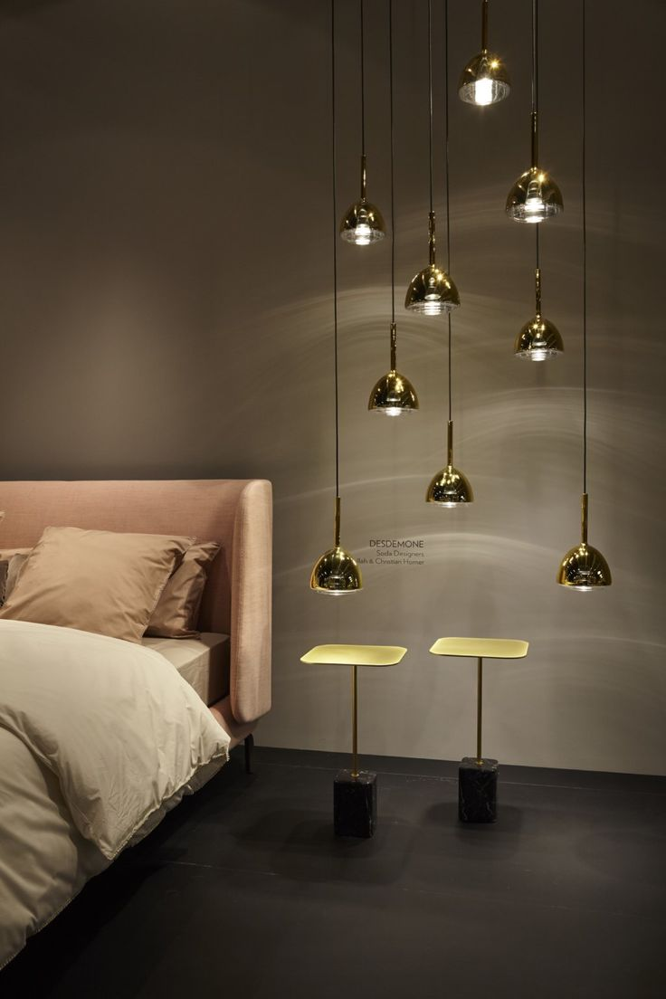 Glorious new Desdemone bed by Nasralleh & Horner for Ligne Roset. This cosseting piece will be available with a choice of back heights when it comes in-store Autumn 2016 . Shown with glam Brass Bell lights in translucent brass finish