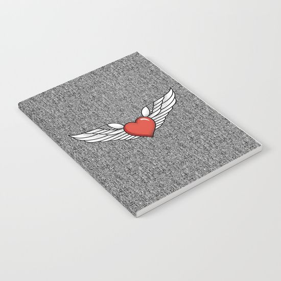 Our notebooks feature wraparound artwork from the world's best artists, with an anti-scuff laminate cover. Unleash your creativity on 52 pages of high quality 70lb text paper - minimal show-through even when you use heavy ink! Available in lined and unlined versions. #love #winged #heart #red #denim #rock #freedom #mia #society6 #Notebook