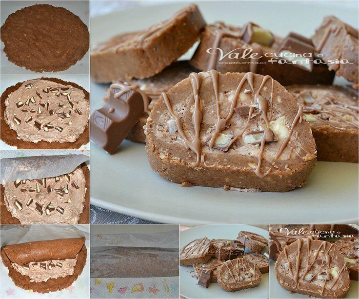 Girelle di biscotti al cioccolato kinder ricetta senza cottura ricetta fresca ed anche golosa, una merenda per i bambini ed anche per i grandi, facilissima
