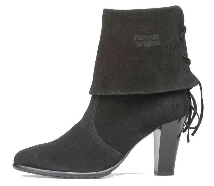 Palmroth high heel short boot black suede - Palmroth Shop