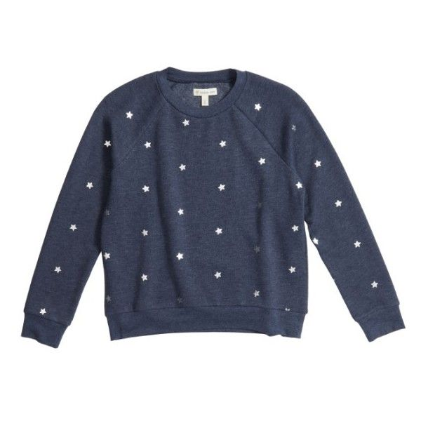 Girl's Tucker + Tate Foil Print Fleece Pullover ($23) ❤ liked on Polyvore featuring tops, sweaters, navy peacoat stars, navy pullover, crew neck sweaters, pullover sweater, fleece sweater and navy blue sweater