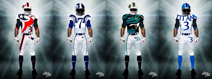AFC South Uniforms- http://www.fantasyhelp.com/2014/02/27/sick-new-nfl-uniforms/ #AFC #uniforms #football #style #swag #realfantasyhelp