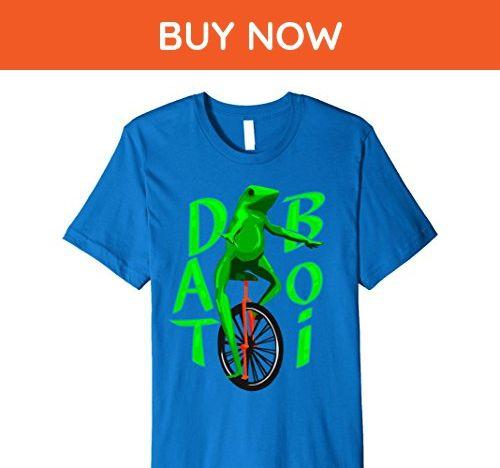 Mens unicycle riding frog Large Royal Blue - Animal shirts (*Amazon Partner-Link)