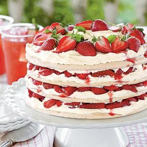 Fresh Strawberry Meringue Cake   This would be lovely in miniature cakes - two layers each about 3 inches.
