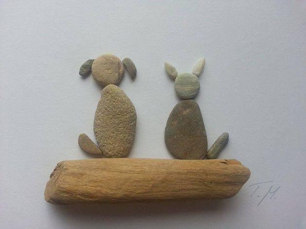 Weiteres - Bild aus Kieselsteinen *Hund+Katze* - ein Designerstück von TAMIKRA-Art bei DaWanda
