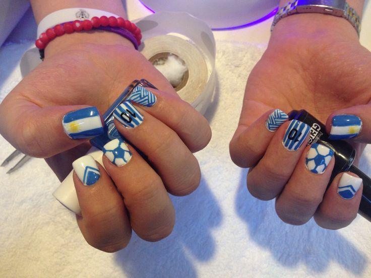 Argentina worldcup fútbol soccer nailart nails