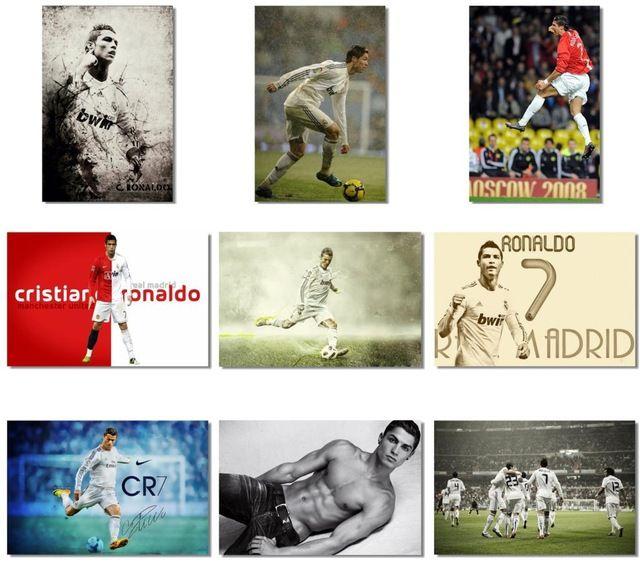 9 unids x Cristiano Ronaldo CR Football Soccer Stars pared del cartel impresiones de la tela de sala de fotos 18 x 12 30 x 20 36 x 24 pulgadas ( 501-509 )