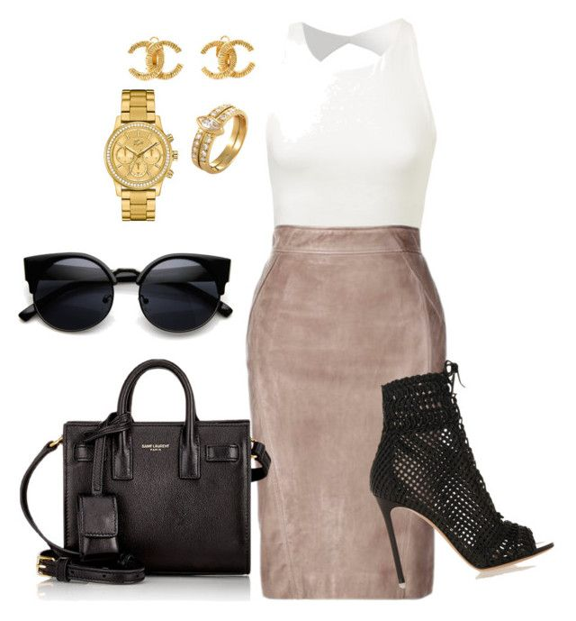 """Work"" by amuramasri on Polyvore featuring Gianvito Rossi, Yves Saint Laurent, Cartier, Chanel and Lacoste"