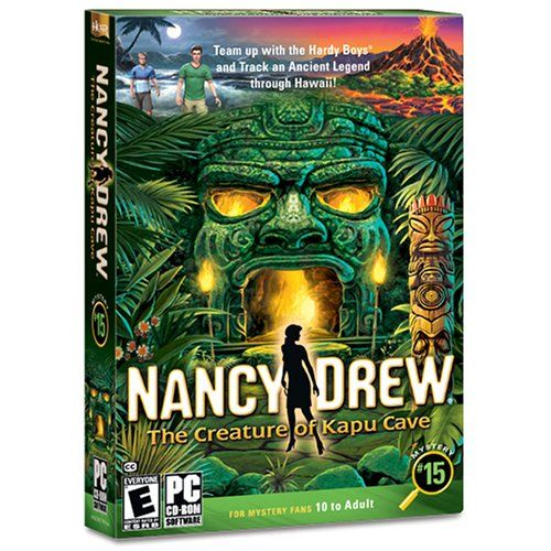 Someone or something destroyed the environmental experiments in the forest around the Hilihili Research compound. Is it the mythical Kane 'Okala or unfriendly rivals? It's up to you, as Nancy Drew, with the help of the Hardy Boys, to uncover hidden secrets among the strange whispers that haunt the mountains and forests.