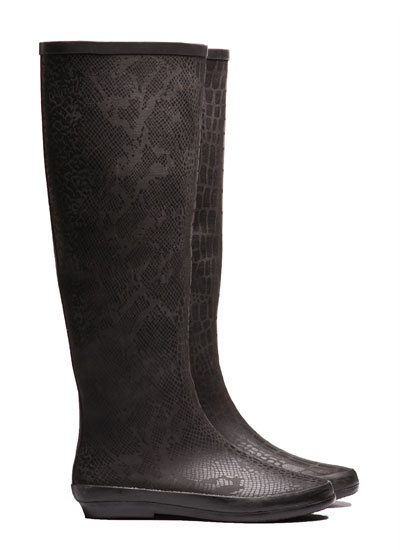 Peta Black Snakey Rubber Boot from Pipduck now in stock. $110