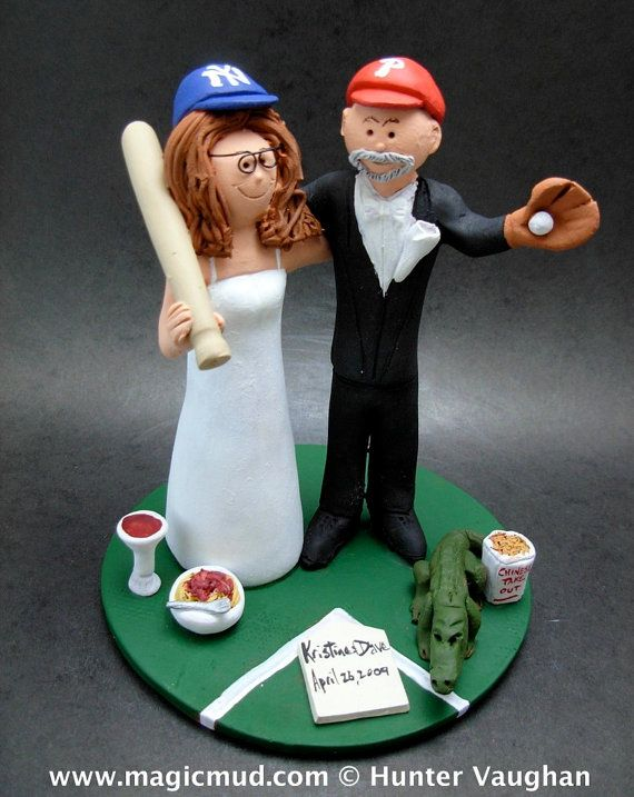 Phillies Wedding Cake Topper    Wedding Cake Topper for MLB Baseball Fans, custom created for you!    $235   #magicmud   1 800 231 9814   www.magicmud.com