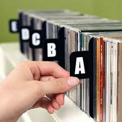 Sweet! Alphabetical CD dividers to help you find what you want with them all still organized on shelves.