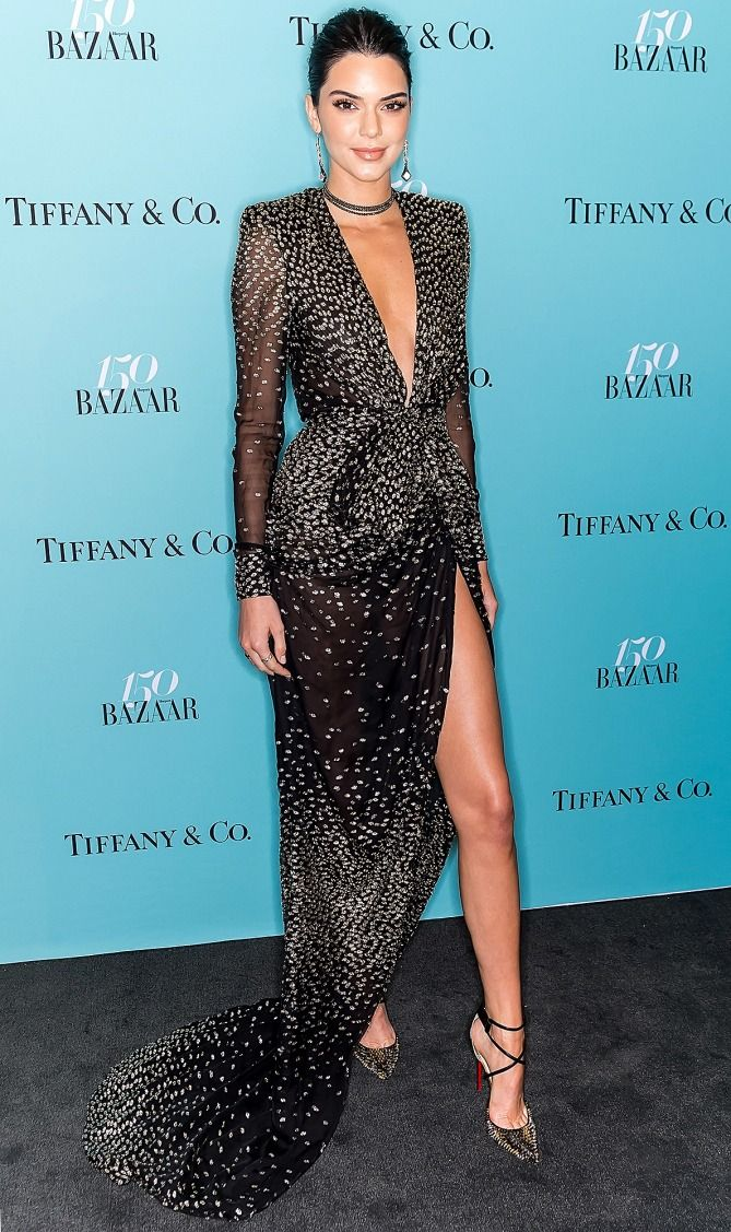 Kendall Jenner in a plunging black Redemption dress