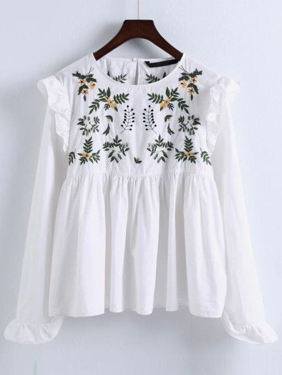 White Embroidery Ruffle Trim Pleated Blouse Only US$23.00