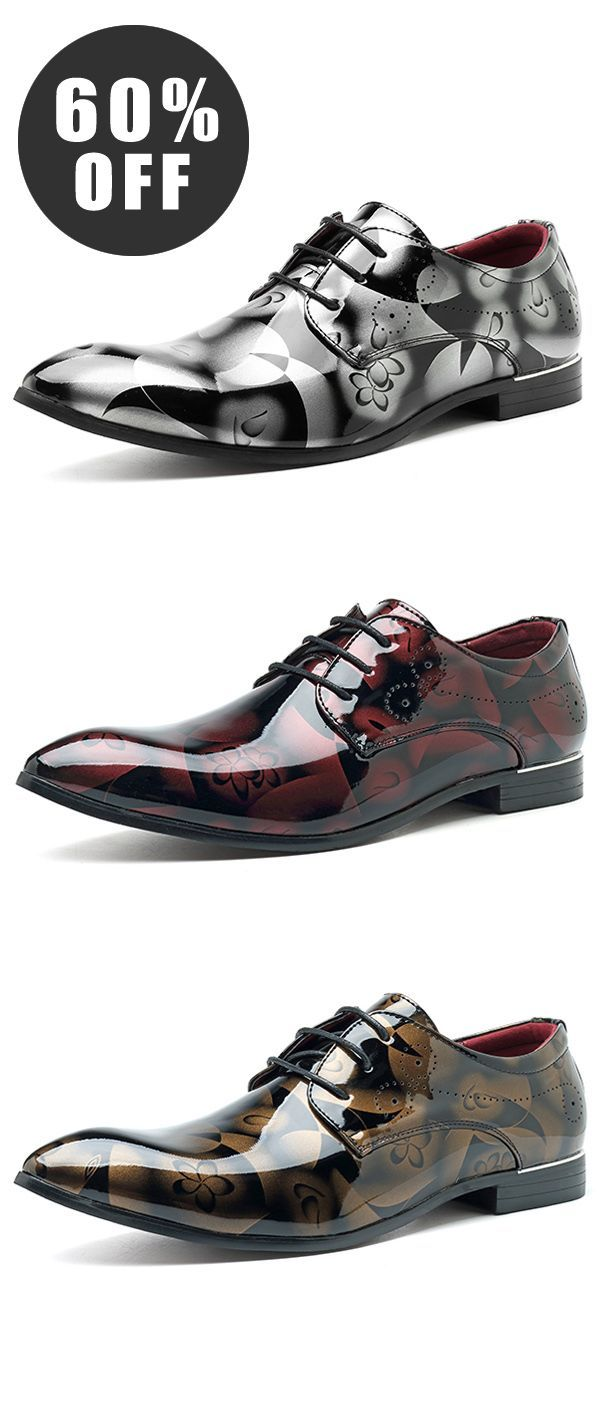60%OFF&Free shipping. Large Size, Comfy, Leather Business Formal Shoes, Pattern Pointed Toe Shoes for Men, Color: Grey, Red, Blue, Gold. Size: 6.5-13. Shop now~ #ShoesForMen