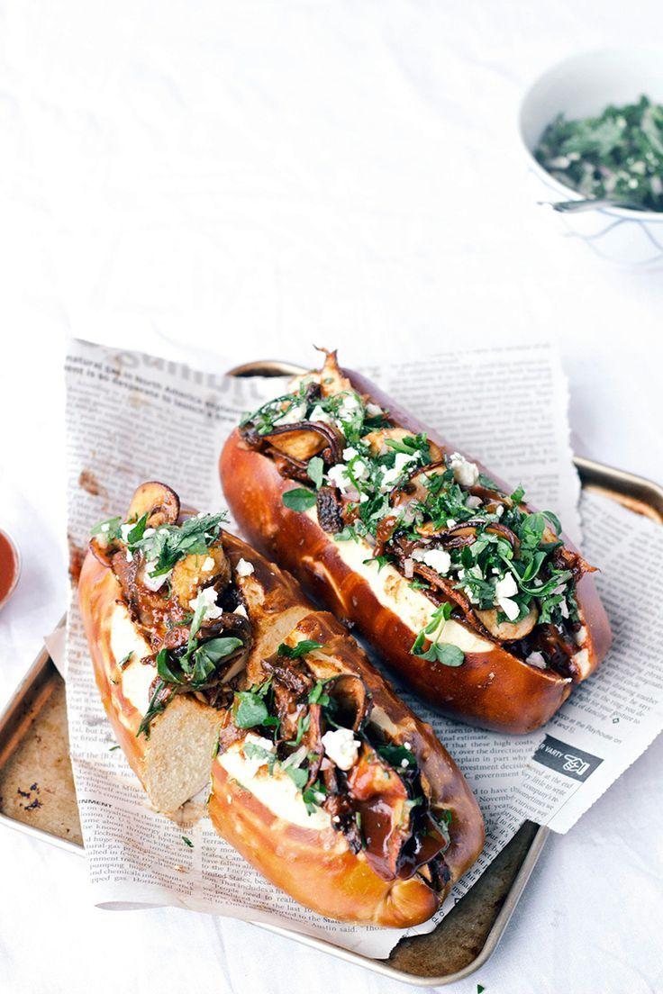 Chipotle Pulled Portobello Sandwiches with Feta Cilantro Topping via The Artful Desperado #food #yummy #delicious