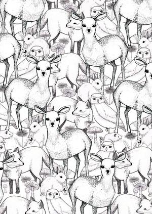 Lydia Meiying: Animals, Inspiration, Patterns, Illustrations, Art, Wallpaper, Lydia Meiying, Design, Deer