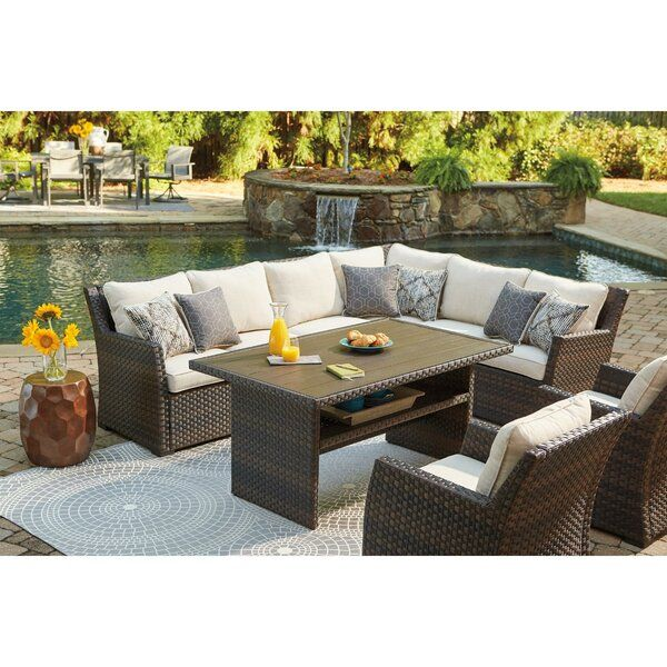 Zora Patio Sectional And Lounge Chair With Cushions Patio Furniture Layout Patio Sectional Resin Patio Furniture