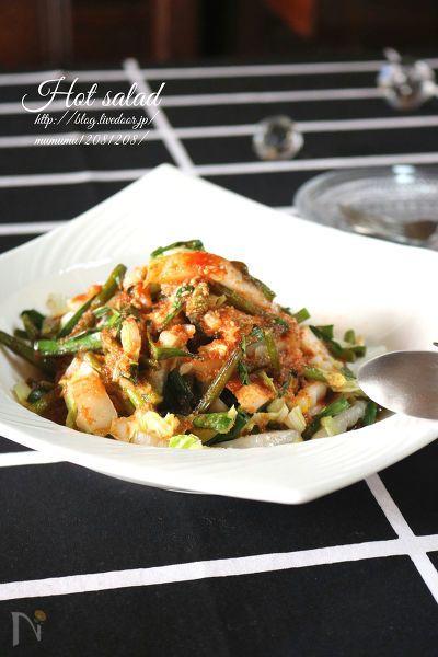 これからの季節の白菜と、年中お値段が安定しているニンニクの芽を使って中華風のホットサラダにしてみました。  ニラはお好みでどうぞ。  調味料に玉ねぎのすりおろしとニンニク・生姜のすりおろしを入れて一煮立ちさせたら、「自家製焼肉のタレ」としても使えますので、是非お試し下さい。