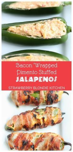 Bacon Wrapped Pimento Stuffed Jalapenos are a kicked up version of your standard jalapeno popper.  These are stuffed with delicious pimento cheese, wrapped in bacon and then grilled until nicely charred. Our jalapenos will having you kick your deep fried ones to the curb | Strawberry Blondie Kitchen