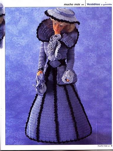 Barbie likes blue a lot, so here is another dress with diagram  ♥LCD♥ Elegante vestido para barbie en crochet   labores de esther. todo para barbie