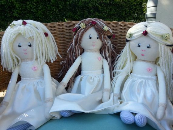 Check out this item in my Etsy shop https://www.etsy.com/uk/listing/152234118/flower-girl-dolls-set-of-bridesmaid