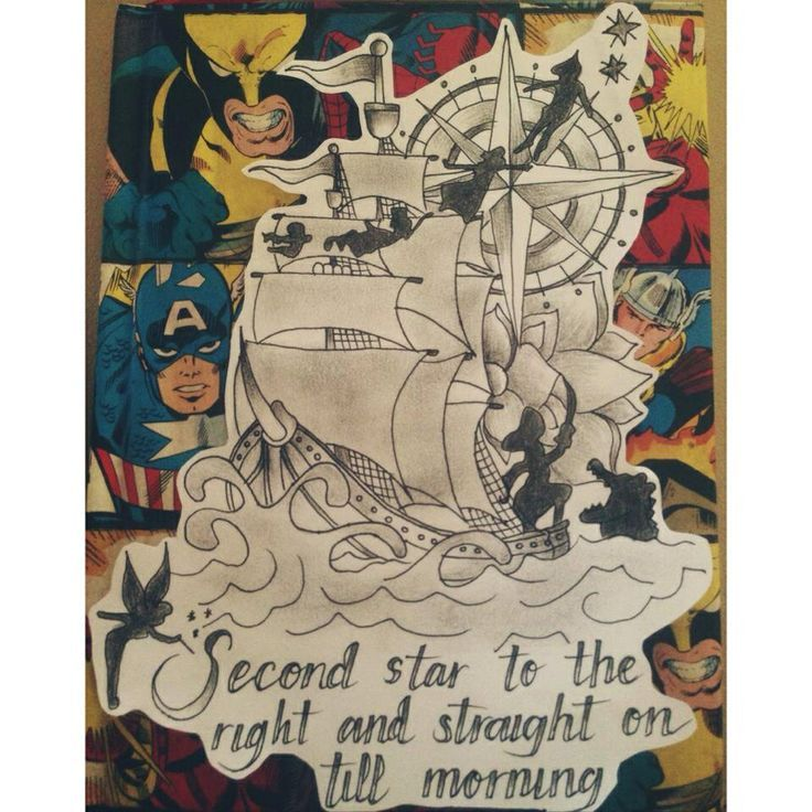 Pirate ship tattoo. Compass. Peter Pan.