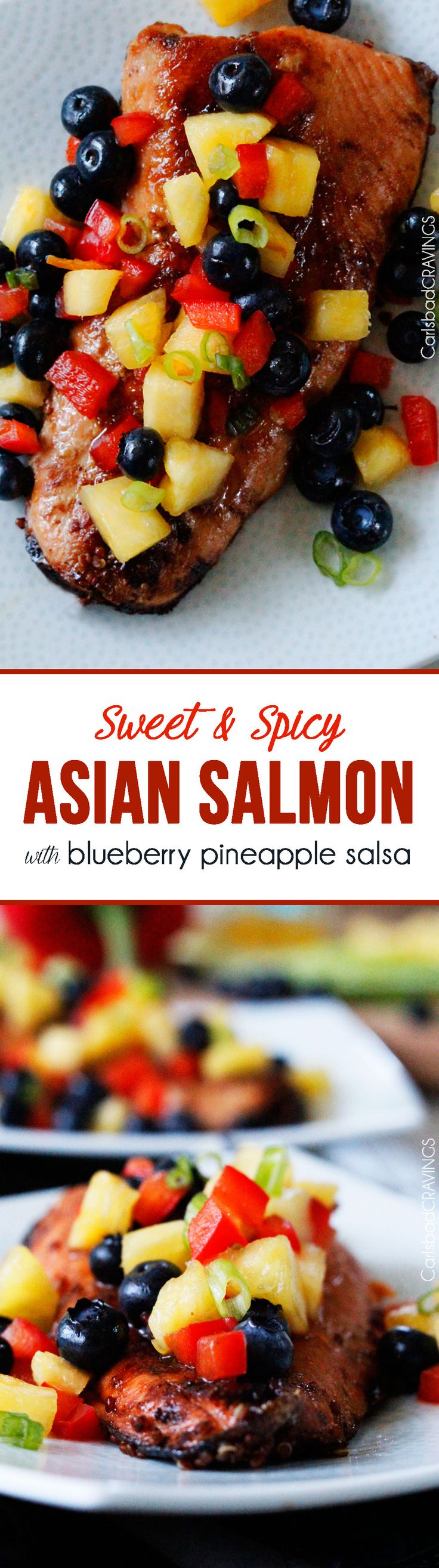 Sweet and Spicy Asian Salmon with Pineapple Blueberry Salmon is super easy, PACKED with flavor and healthy too!  #salmon #Asiansalmon