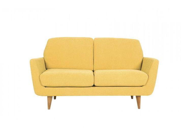 Sofa Rucola 2 seater AMSTEL 4 mustard tkanina musztardowa nogi drewno dąb — Sofy Sits — sfmeble.pl #yellow #design #sofa
