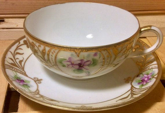 Pretty and Delicate Vintage Hand Painted Nippon Moriage Teacup and Saucer