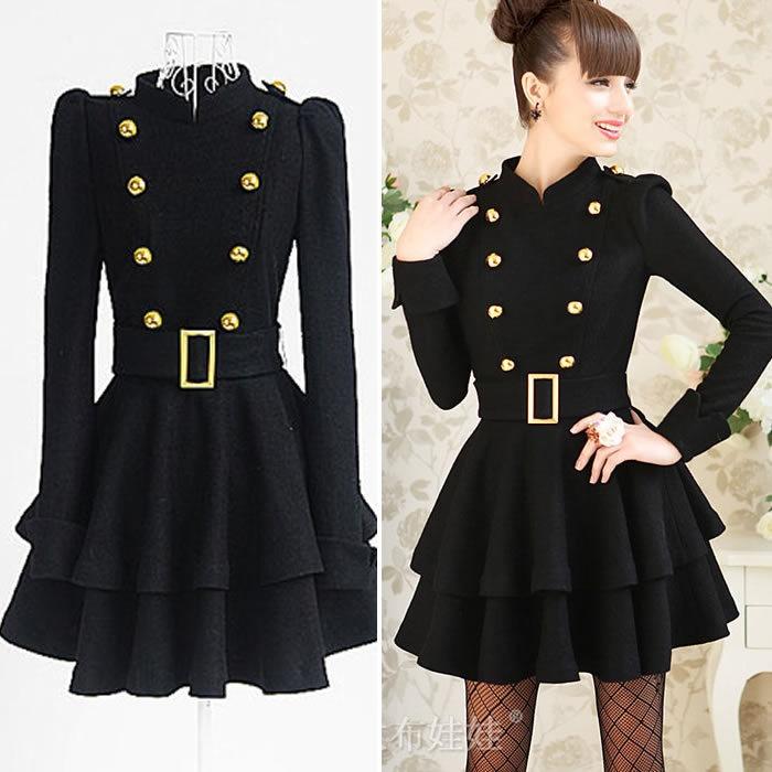 Women Winter Fashion Black Slim Jacket Coat Free Belt | eBay