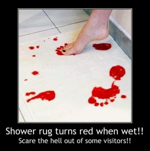 Shower Rug Turns Red When Wet