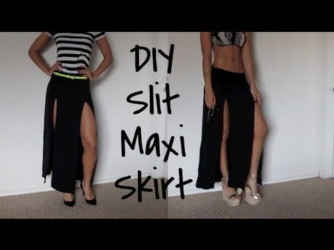How to make your own slit maxi skirt from a plain thrifted skirt!   Or just buy one from my shop! http://www.shopcustomthrift.com