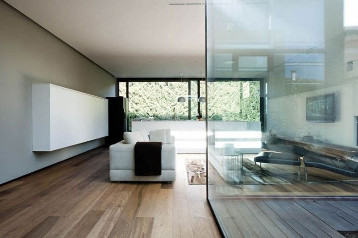 Contemporary Minimalist White Home Interior Design Ideas: Living Room Viewed From Glazed Window