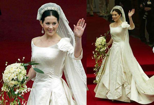 14/5/2004 Mary Donaldson e il principe Frederik di Danimarca. Abito disegnato dallo stilista Uffe Frank.