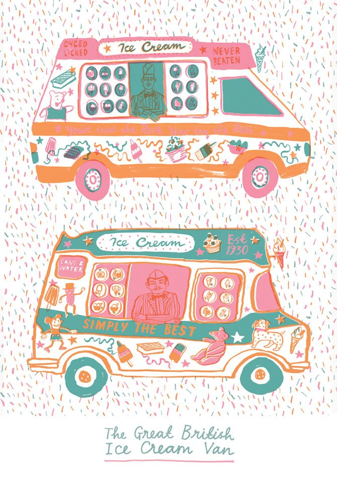 The great British ice cream van illustration Risograph - Louise Lockhart