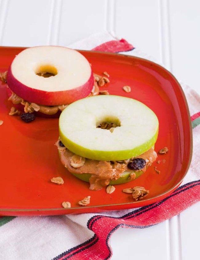 Granola, peanut butter, and apple sandwiches