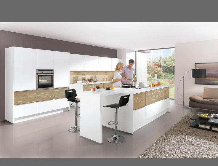 Laser plus 480 premium white light oak plank reproduction palazzo kitchen appliances nobilia küchen