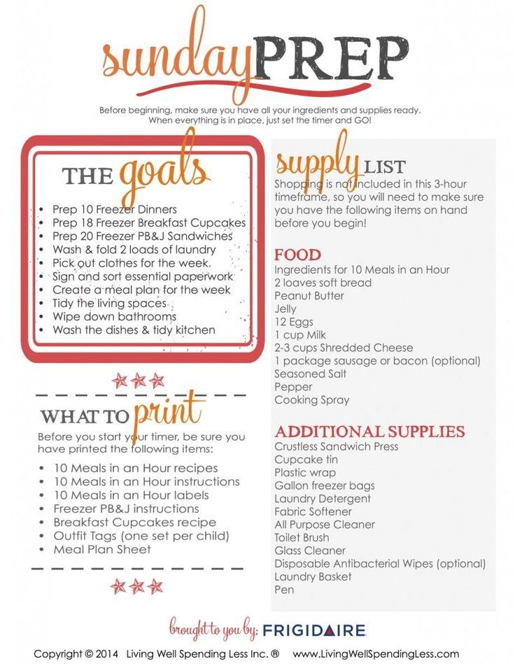 Sunday Prep Supply List