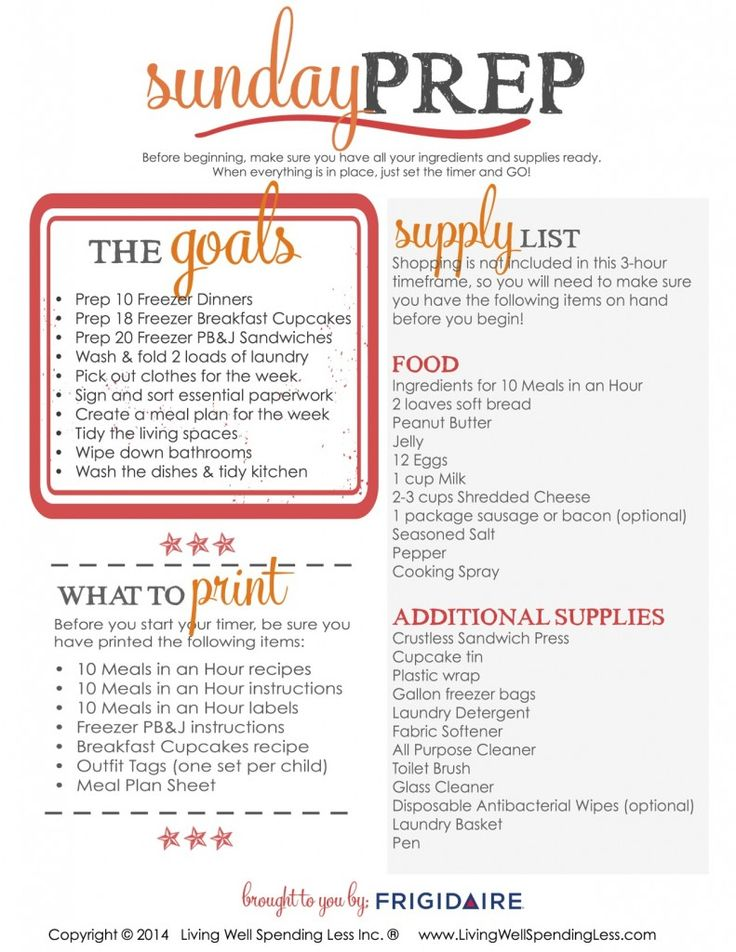 Tired of hectic weekdays? With this step-by-step Sunday Prep plan, just a few hours of hustle on the weekend can save you 5 days of stress during the week! By the time you are done, you will have prepared freezer meals for breakfast, lunch, and dinner, plus tidied the house, planned your menu, tackled 2 loads of laundry, AND pre-selected outfits for the rest of the week. There's even a printable prep sheet and action plan to help you get it all done! Simply genius! #freezercooking #timesaver