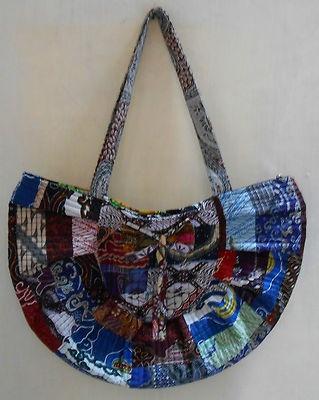 "Batik Indonesia half round women tote bag  Dimension : L: 49.5cm(19.5"") H: 33cm(13"") strap drop : 29.2 cm(11.5"")  material : cotton"