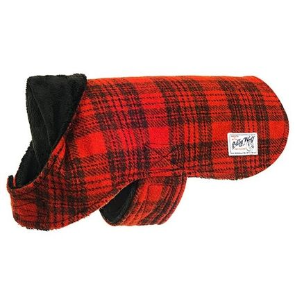 This warm red and black Nantucket plaid wool dog coat has a super soft black sherpa lining. Sizes for small to large dogs.