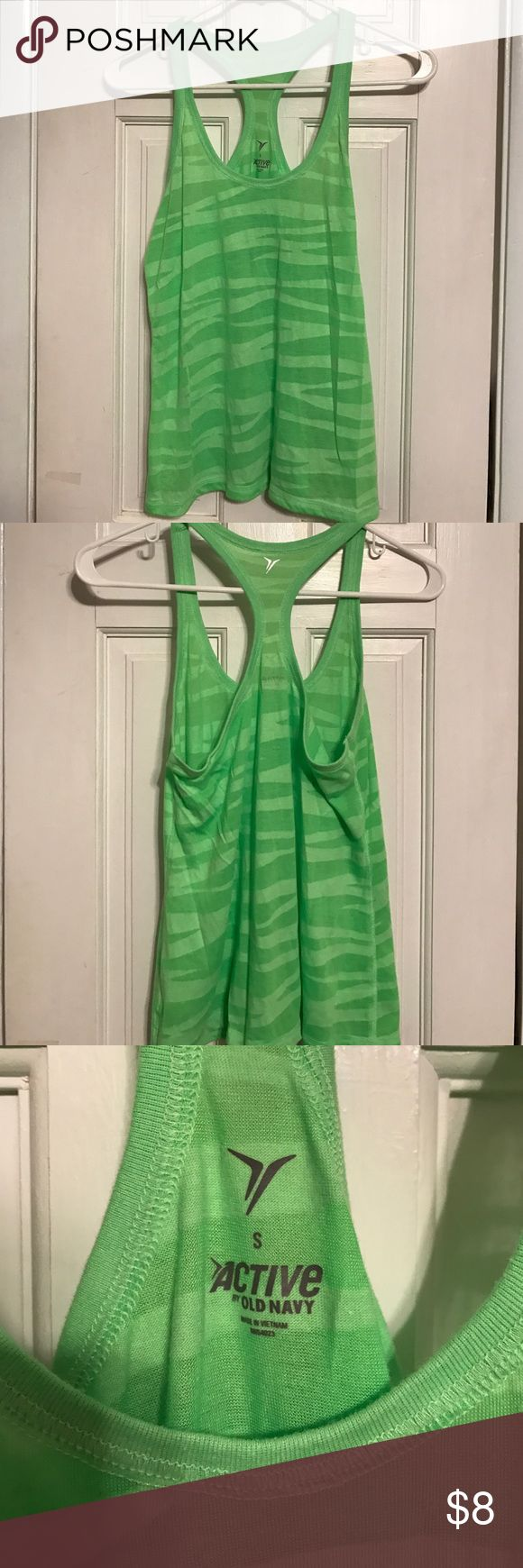 Green old navy active tank top Green shear zebra striped tank top. Part of old navy's active collection. Razorback Old Navy Tops Tank Tops