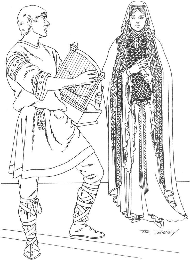 Minstrel and Frankish Lady Left: bliaud over cross