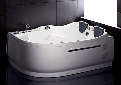 Round Jetted Bathtub Everest Semi Round Corner 71 X 48