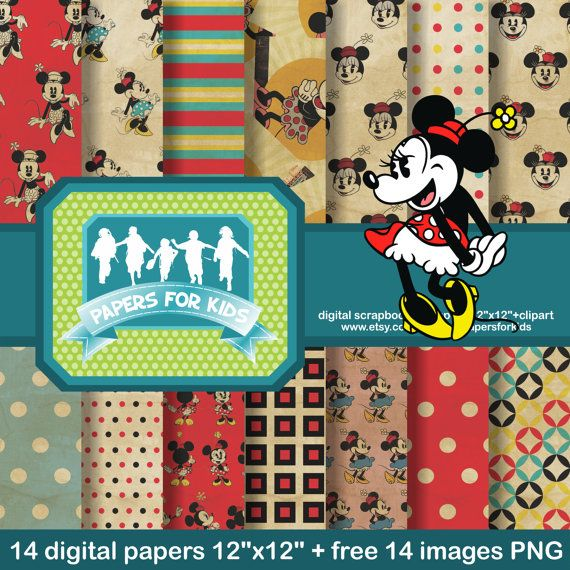 Digital Papers Minnie Mouse Vintage Girls by PapersforKids on Etsy